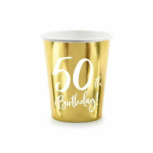 6 Gold 50th Birthday Party Paper Cups, 50th Birthday Cups, 50th Party Decorations, Paper Party Cups, Gold Party Cups, Milestone Birthday